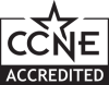 CCNE accredited in black with a star at the top
